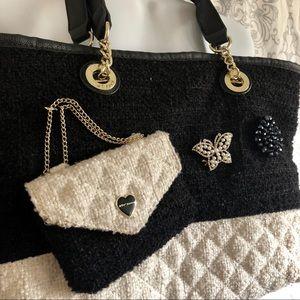 *Betsy Johnson* black & beige bag
